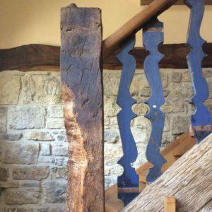 Balken, wieder eingebaut in Treppenbau I Fa Blöcher 2015